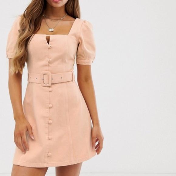 NWT ASOS DESIGN Denim Mini Dress with Belt Sz US 6
